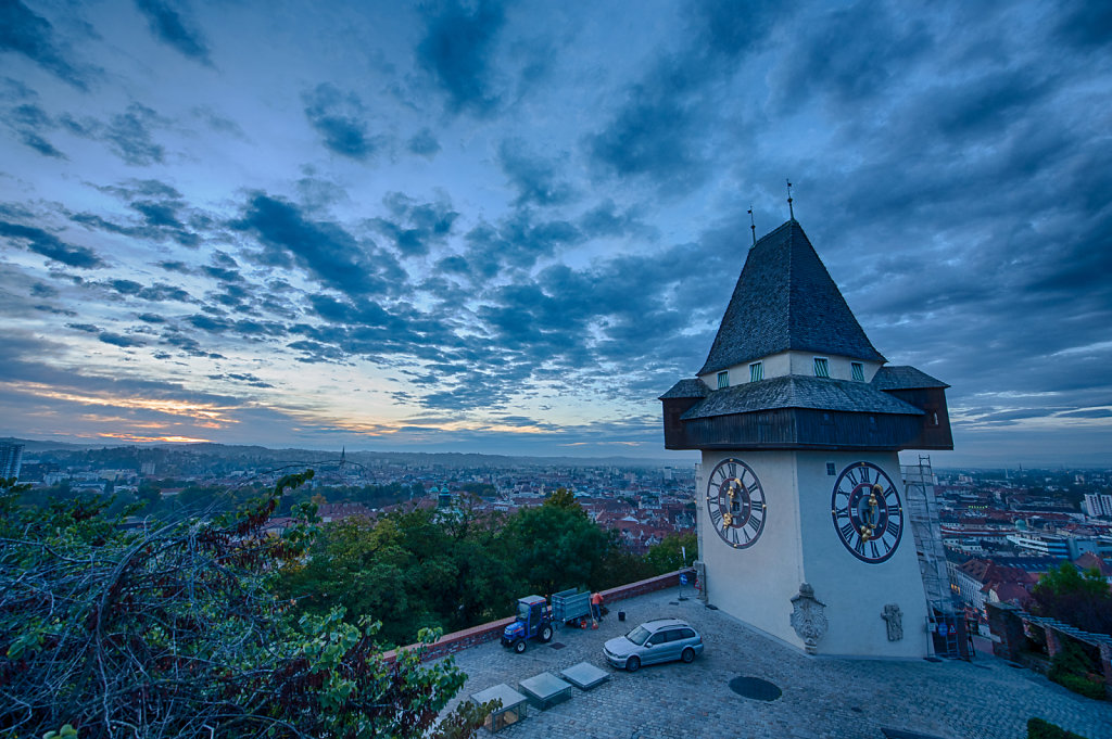 Dawn at the Clock Tower,  Schlossberg, Graz, Austria