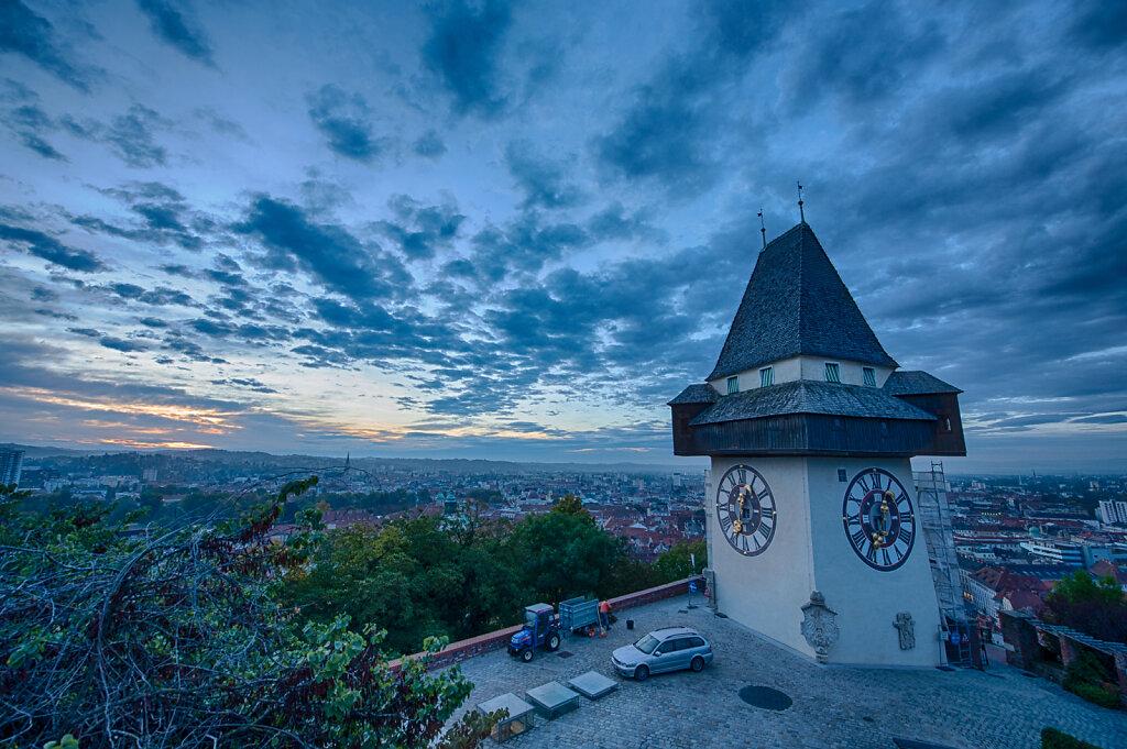 Dawn at the Clock Tower,  Schlossberg, Graz, Austria