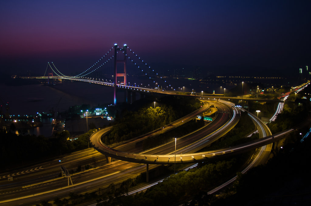 Hong Kong Tsing Ma Bridge at Night