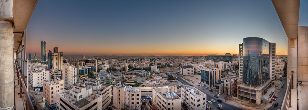 Beautiful twilight at Amman, the capital of Jordan